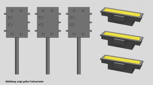 Indusi PZ80 gelb und Anschlusskasten, je 3 Stück, TT