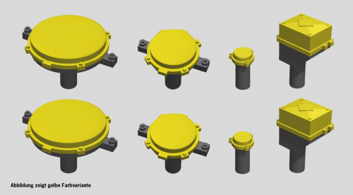 Kreisverteiler & Gleisanschlusskästen gelb, 8 Stück, TT